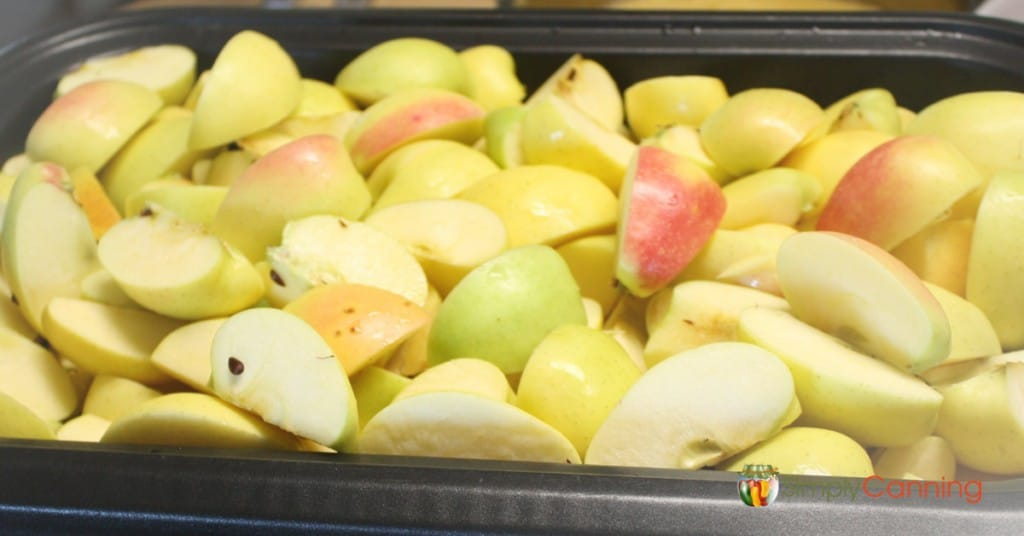 A big container of cored and quartered yellow apples.