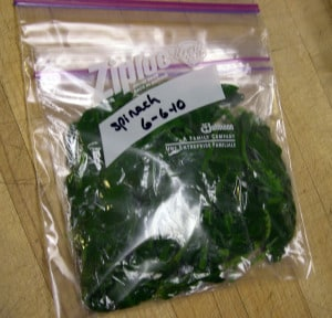 freezing spinach package