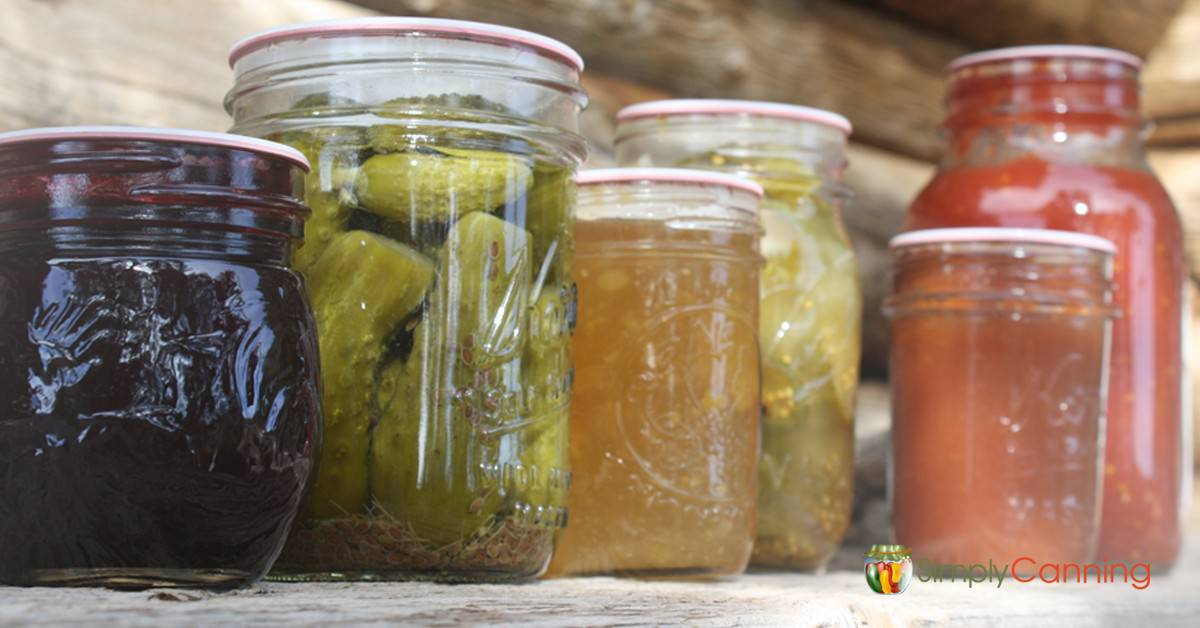 Canning jars of various foods.