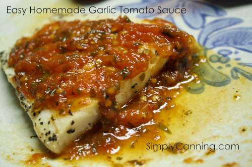 Homemade tomato sauce poured over fish on a plate.