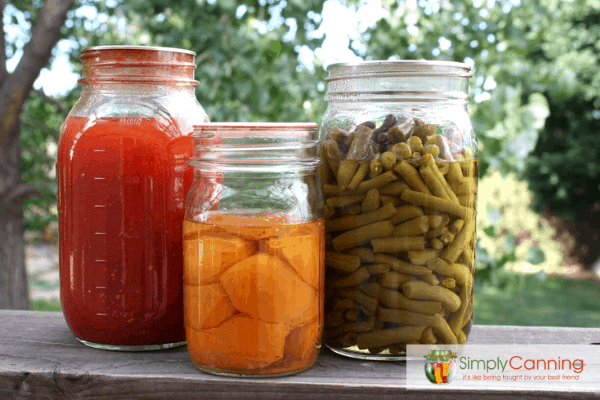 Canned tomatoes, fruit, and beans sitting in jars.