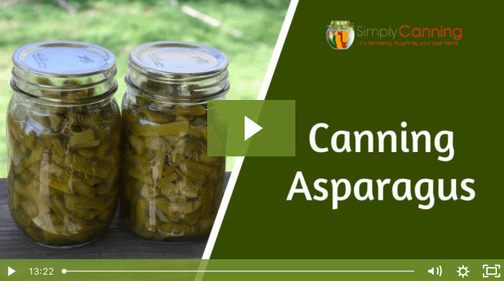 Two jars of home canned asparagus linking to the member lesson.
