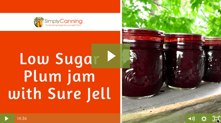 Jars of low sugar plum jam sitting in a row on the ledge.