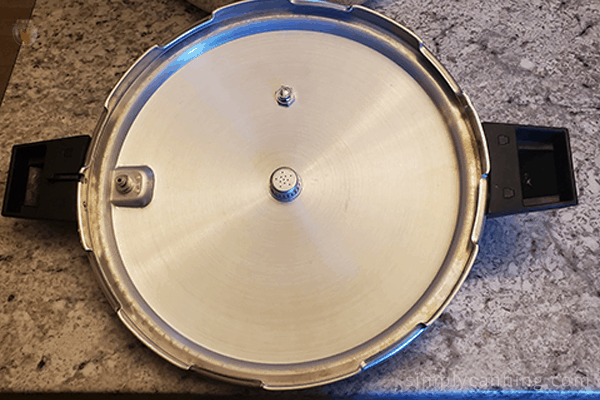 Looking on the inside of the Mirro pressure canner lid.