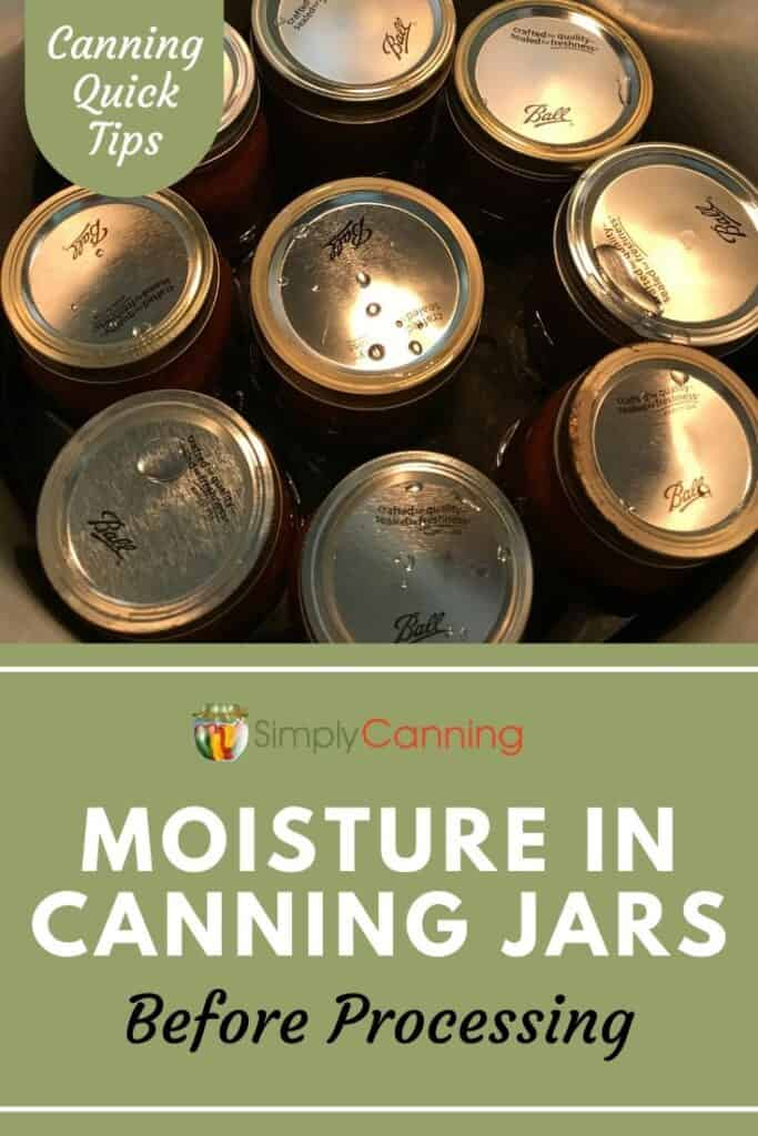 Are you a beginning canner who's found moisture in canning jars and lids BEFORE processing? Is that a concern? Learn the answer to this unique home food canning question at SimplyCanning.com