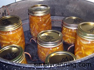 orange marmalade in canner