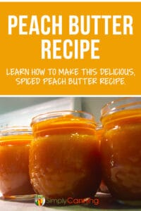 Pinterest image for peach butter recipe.