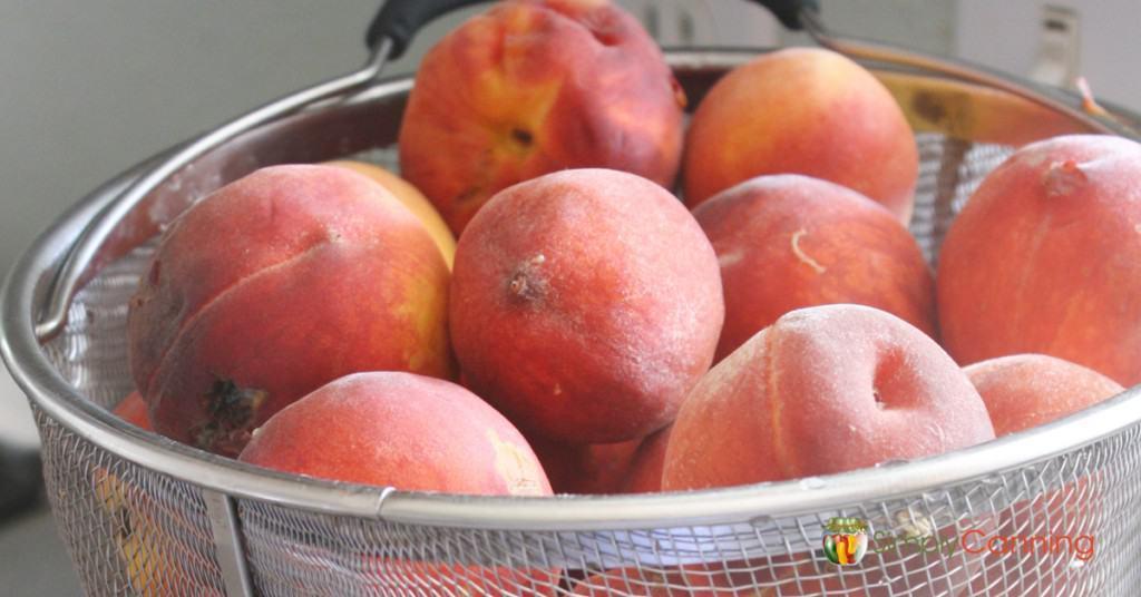 Fresh peaches sitting in a blancher basket.