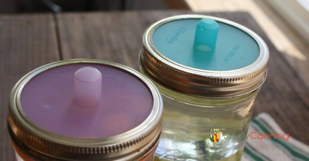 Two colored Pickle Pipes screwed on the tops of canning jars.