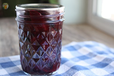 A finished jar of pickled beets.