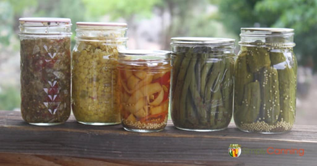 Lots of different pickled products, including relishes, pickled peppers, and dill pickles.