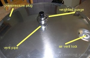 Weighted gauge lid with the weight in the middle of the lid and other elements like the vent lock and overpressure plug on the edges of the lid.