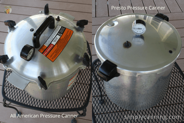 Looking down at the domed lid of the All American canner compared to the slightly flatter lid of the Presto.