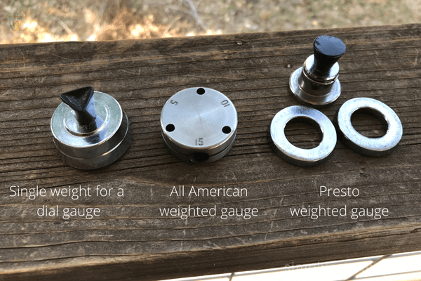 Simple weight for a dial gauge, All American weighted gauge, and Presto weighted gauge.