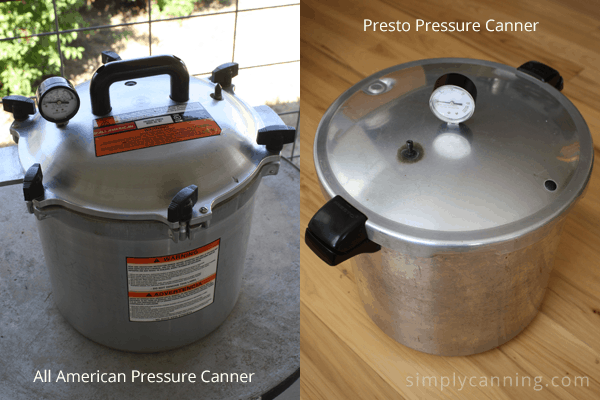 All American and Presto pressure canners side by side.