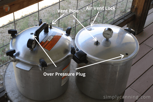 Showing the locations of the different elements on the All America and Presteo canner lids.