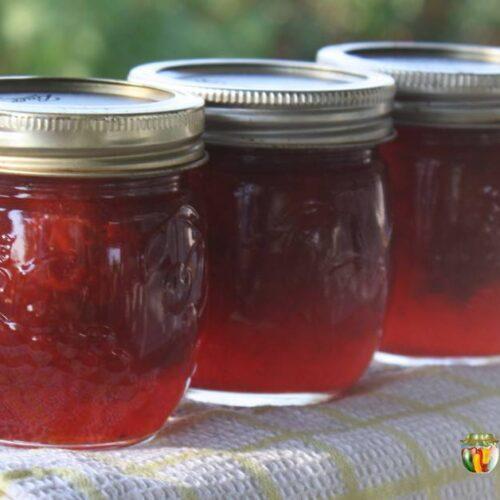 Three small jars of red strawberry jam.