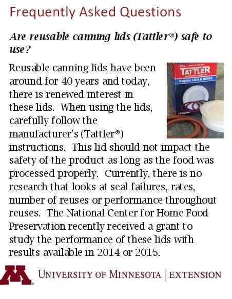 tattler reusable canning lids tested