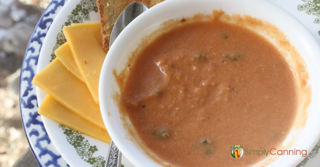 A bowl of creamy tomato soup with cheese and toast on the side.