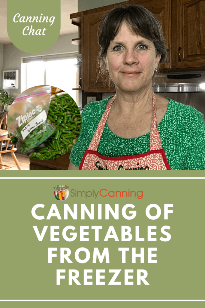 Canning of Vegetables from the Freezer, pinterest image.