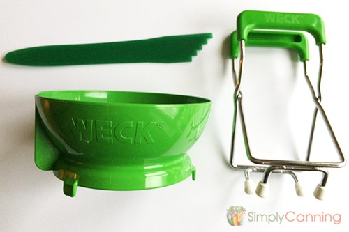 Weck jar lifter and canning funnel with a headspace tool.
