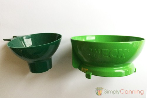Narrower Mason jar canning funnel compared to the wider Weck canning funnel.